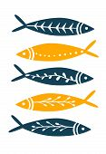 Sea Fish Simple Styling Print. Two Color. Quote Lettering With Sea Rope. Print For Kids T-shirt And  poster