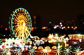 Blur Colors Light Beam Of Fluorescent Light Colorful In Ferris Wheel Festival Temple Fair Night Back poster