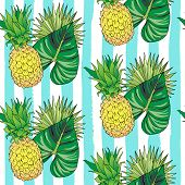 Vector Hand Drawn Abstract Seamless Pattern Of Exotic Fruit Pineapple And Leaves On Blue Strips. Ana poster