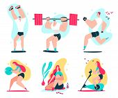 Fitness Man And Woman Doing Exercise. Couple Workout Vector Cartoon Illustration Isolated On A White poster