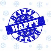 Happy Round Stamp Seal On Winter Background With Snowflakes. Blue Vector Rubber Imprint With Happy T poster