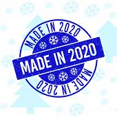 Made In 2020 Round Stamp Seal On Winter Background With Snowflakes. Blue Vector Rubber Imprint With  poster
