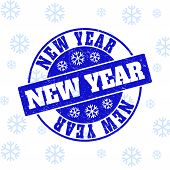 New Year Round Stamp Seal On Winter Background With Snowflakes. Blue Vector Rubber Imprint With New  poster