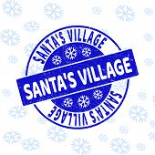 Santas Village Round Stamp Seal On Winter Background With Snow. Blue Vector Rubber Imprint With Sant poster
