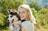 This Girl Loves Her Siberian Husky. Sexy Woman With Dog Pet On Summer Day. Happy Girl Hold Pedigree  poster