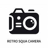 Retro Squa Camera Icon Isolated On White Background. Retro Squa Camera Icon Simple Sign. Retro Squa  poster