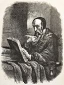 John Calvin old engraved portrait, French theologian during the Protestant Reformation. Created by M