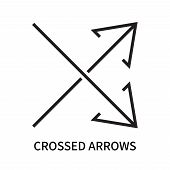 Crossed Arrows Icon Isolated On White Background. Crossed Arrows Icon Simple Sign. Crossed Arrows Ic poster