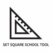 Set Square School Tool Icon Isolated On White Background. Set Square School Tool Icon Simple Sign. S poster