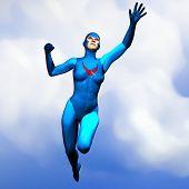 Generic Super Hero Woman In Blue Flying 2