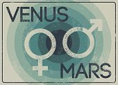 Venus And Mars. Gender Signs. Male And Female Symbols Typographic Vintage Grunge Style Poster. Retro poster