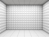 stock photo of insane  - white mental hospital padded room empty with copy space - JPG