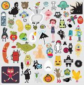 image of baby spider  - Big set of different cute monsters  - JPG