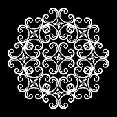 White Vintage Ornament, Baroque Ornament With Black Background, Scroll Ornament, Engraving Border Or poster