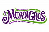 Vector Lettering For Mardi Gras Carnival, Filigree Calligraphic Font With Traditional Symbol Of Mard poster