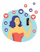Color Vector Flat Style Illustration. A Girl Makes Selfie Using A Mobile Phone. Beautiful Modern Gir poster