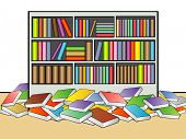 pic of book-shelf  - An illustration of book shelf in a library - JPG