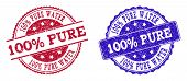 Grunge 100 Percent Pure Water Seal Stamps In Blue And Red Colors. Stamps Have Distress Surface. Vect poster
