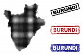 Halftone Dot Vector Abstracted Burundi Map And Isolated Black, Red, Blue Scratched Stamp Seals. Buru poster