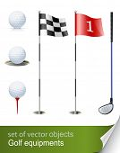 set of golf equipment vector illustration isolated on white background