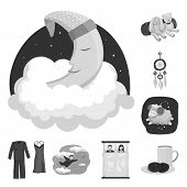Vector Design Of Dreams And Night Icon. Set Of Dreams And Bedroom Vector Icon For Stock. poster
