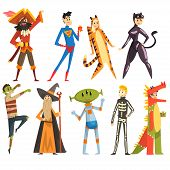 People In Carnival Costumes Set, Funny Persons Dressed As A Pirate, Magician, Tigress, Superman, Din poster
