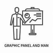 Graphic Panel And Man Icon Isolated On White Background. Graphic Panel And Man Icon Simple Sign. Gra poster