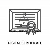Digital Certificate Icon Isolated On White Background. Digital Certificate Icon Simple Sign. Digital poster