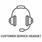 Customer Service Headset Icon Isolated On White Background. Customer Service Headset Icon Simple Sig poster