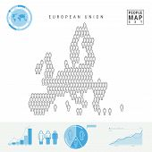 European Union People Icon Map. People Crowd In The Shape Of A Map Of European Union. Stylized Silho poster