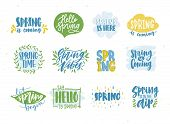 Bundle Of Spring Or Springtime Phrases Or Slogans Handwritten With Calligraphic Fonts And Decorated  poster