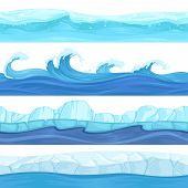 Seamless Water Waves. Liquid And Ice Surface Ocean And River Texture Vector Backgrounds For 2d Platf poster