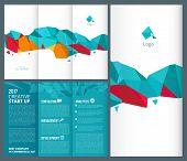 Trifold Leaflet. Business Brochure Folded Vector Design Template. Illustration Of Startup Mockup Lea poster