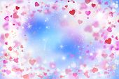 Abstract, Background, Banner Background, Lovely, Blue, Blurred Background Of Red And Pink Hearts, Bo poster