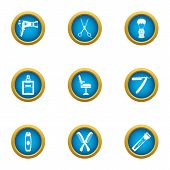 Coiffeur Icons Set. Flat Set Of 9 Coiffeur Icons For Web Isolated On White Background poster