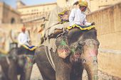 Decorated Elephants In Jaleb Chowk In Amber Fort In Jaipur, India. Elephant Rides Are Popular Touris poster