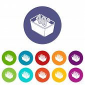 Hand Wash 40 Degrees Celsius Icons Color Set For Any Web Design On White Background poster