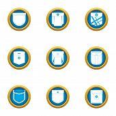 Outside Pocket Icons Set. Flat Set Of 9 Outside Pocket Icons For Web Isolated On White Background poster