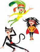 Set of funny cartoons Super hero Girls Isolated on white background