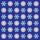 Vector Seamless Flower Ornament Pattern. Pattern Ornament With Blue Background. Abstract Ornamental  poster