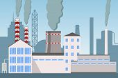 Industry Factory Vector Industrial Chimney Pollution With Smoke, Industrial City Landscape With Plan poster