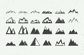 Set Of Vintage Retro Rock Mountain Silhouettes And Design Elements. Can Be Used For Logo, Emblem, Ba poster