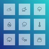 Climate Icons Line Style Set With Cold Weather, Blizzard, Moonshine And Other Drizzle Elements. Isol poster