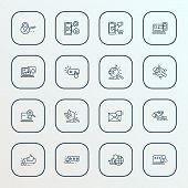Search Icons Line Style Set With Bug Fixing, Responsive Design, Search Engine And Other Smartphone E poster