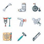 Prosthetic Appliance Icons Set. Cartoon Set Of 9 Prosthetic Appliance Icons For Web Isolated On Whit poster