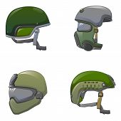 Army Helmet Soldier Military Hat Icon Set. Cartoon Illustration Of 9 Army Helmet Soldier Military Ha poster
