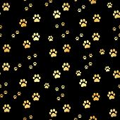 Gold Paw Print Seamless Pattern. Seamless Pattern Of Animal Gold Footprints. Dog Paw Print Seamless  poster