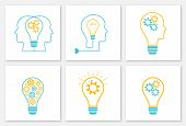Gear Lightbulb Creative Teamwork Concept Set Vector Illustration. Orange Bulb Silhouette With Blue C poster