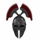 Trojan Black Closed Helmet On An Isolated White Background poster