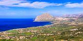 coastal landscape of beautiful Sicily. San vito lo capo, view from Eriche. Italy poster
